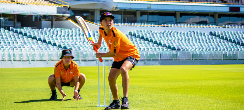 SEDA Cricket Australia and Scorchers students at the WACA